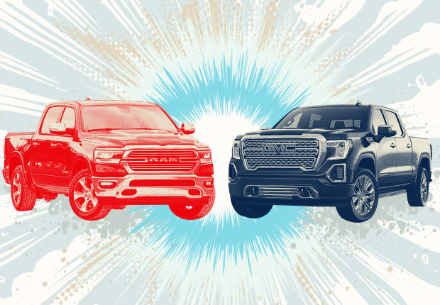 HEAD-ON COMPARISON In the market for a big, bad luxury truck? Dan Neil drives the new Ram 1500 and GMC Sierra to decide which is worth the price.
