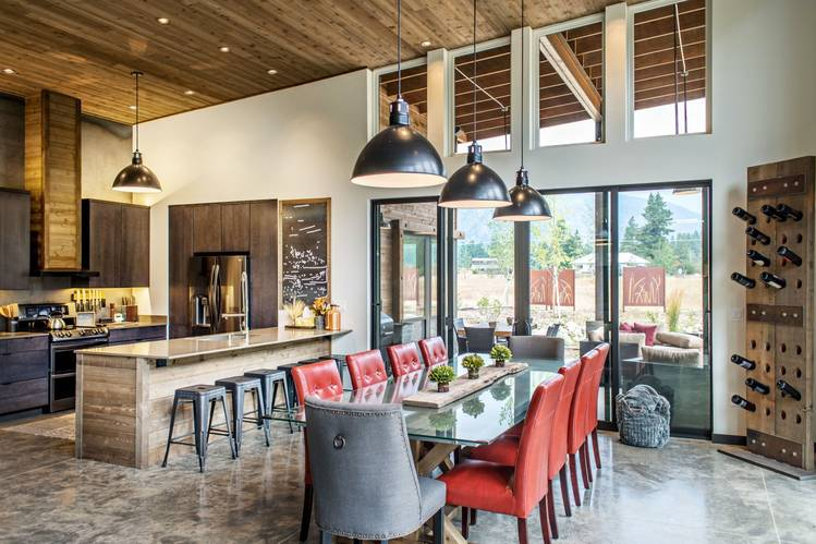 Dan Nelson, of Designs Northwest Architects, designed this Mazama home and a guesthouse, both with rusted metal, steel beams and shed roofs, for Colin Sands, a financial adviser from the Seattle area.