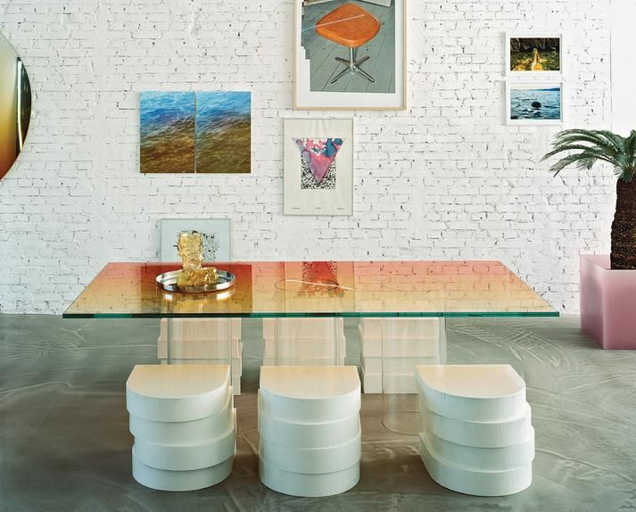 Marcelis designed the glass table and, with Cournet, the stacked-foam chairs.