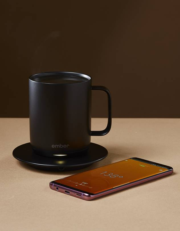 JOE NOT-TOO-COOL Ember's app displays real-time temperatures and notifies you when your coffee is perfect.