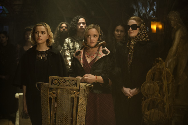 From left, Kiernan Shipka, Lucy Davis and Miranda Otto in 'Chilling Adventures of Sabrina'