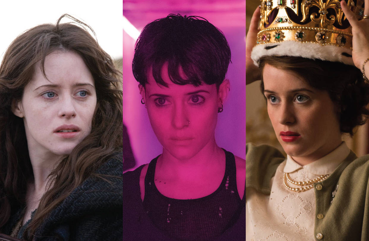 Claire Foy in, from left, 'Season of the Witch,' 'The Girl in the Spider's Web' and 'The Crown.'