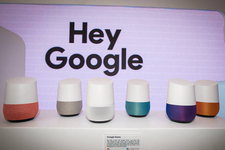 Google Home smart speakers at the company's booth during the 2018 Consumer Electronics Show in Las Vegas.