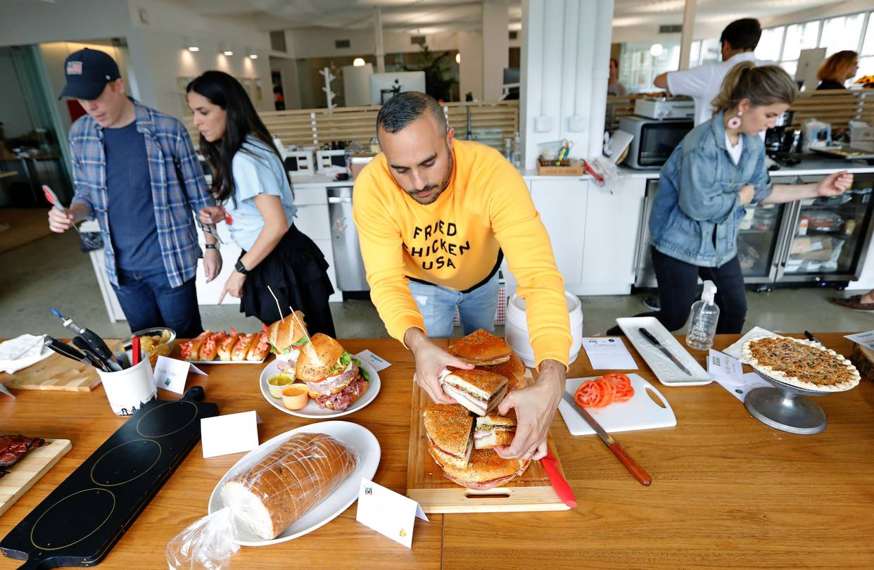 Co-founder and chief executive officer Joe Ariel of Goldbelly, a mail-order food company, prepared food for their in-house taste test in New York last week.