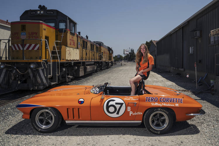 Jeni Yeakel-Swanson, a real-estate lawyer in San Diego, with her 1964 Chevrolet Corvette race car. Ms. Yeakel-Swanson's father owns the car, but she is the primary driver and competes in vintage races in it.