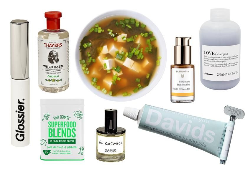 Clockwise from left: Glossier Boy Brow; Thayers Witch Hazel; Miso soup; Dr. Hauschka Bronzing Tint; Davines shampoo; Davids Toothpaste; 'El Cosmico' by D.S. & Durga; Four Sigmatic 10 Mushroom Blend