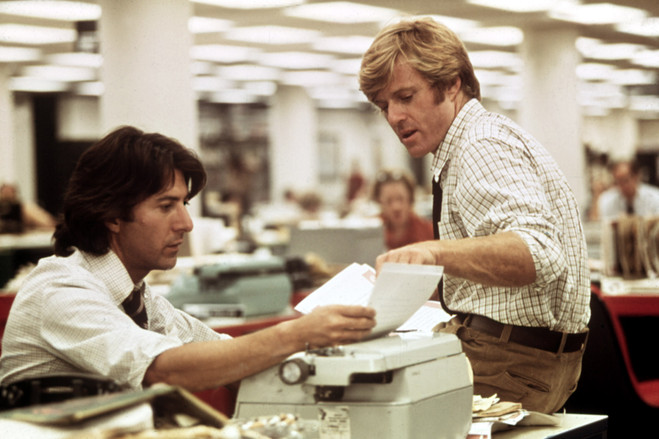 Dustin Hoffman, left, and Robert Redford, play reporters pursuing the story in 'All the President's Men.'