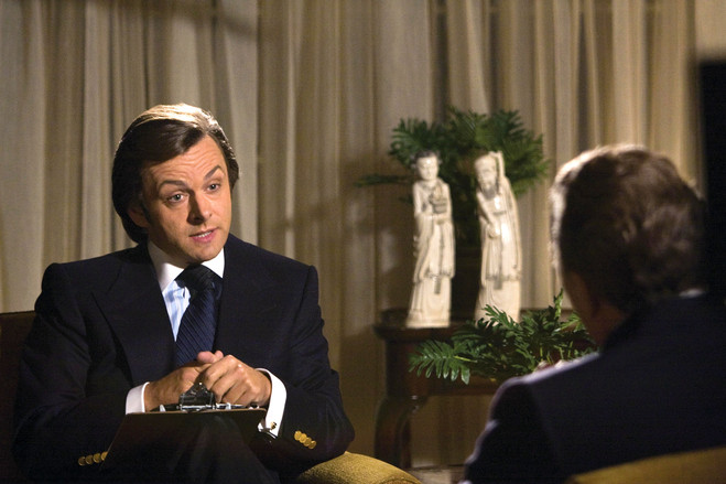Michael Sheen, left, as David Frost, proves more than a match for Frank Langella, playing Richard Nixon, during interviews in 2008's 'Frost/Nixon.'