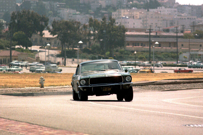 A scene from 'Bullitt'; the film, directed by Peter Yates, still has wheels, thanks to its star's charisma and the snarling vigor of its car chase.