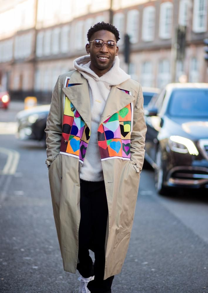 HEARTTHROB Musician Tinie Tempah wears a J.W. Anderson trench coat during London Fashion Week.