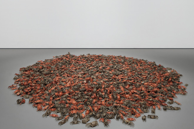 Ai Weiwei's 'He Xie,' incorporating porcelain sunflower seeds and river crabs, sold for $793,000 on Friday.