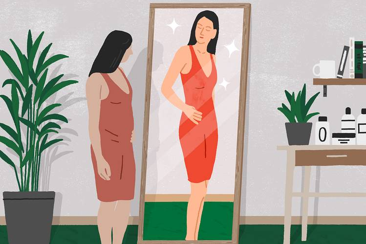 LITTLE WHITE LIE A Stockholm study showed that a mirror that shaves a few pounds off your appearance still leaves you feeling bigger than you actually are.