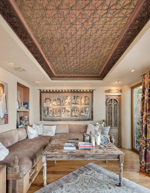 Liz Edlich said she spent 'thousands and thousands' on this carved wooden ceiling from Sri Lanka, but several contractors she approached refused to install it in her Malibu, Calif. home. She finally found a team willing to take on the project, and it ultimately took 'probably 20 or 30 guys' to transport the piece.