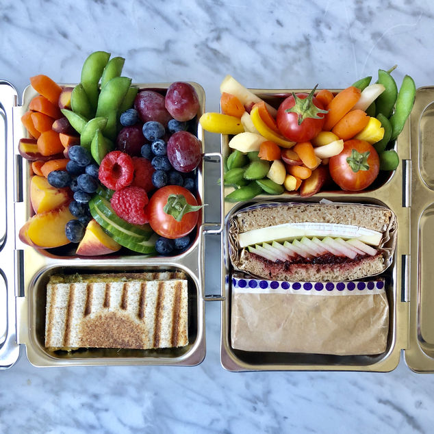 Aviva Wittenberg combines colorful foods into combinations of nut-free, dairy-free and vegetarian lunches each day for her daughters and posts pictures on Instagram.