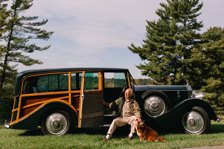 Arlan Ettinger, founder and president of Guernsey's auction house, with his 1933 Rolls-Royce 20/25 Shooting Brake, at his weekend home in Salisbury, Conn. When Mr. Ettinger first saw this car around 1990, it had been sitting in a barn for decades.
