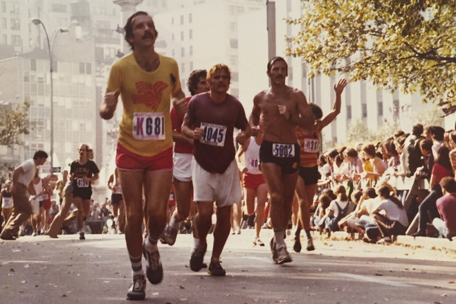 Mr. Spector, left, says he got hooked on distance after running his first New York City Marathon in 1979.