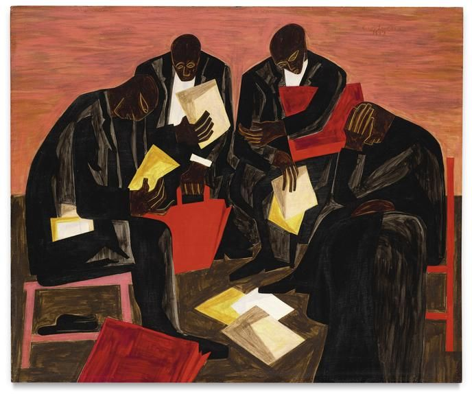 Jacob Lawrence's 1947 painting 'The Businessmen' comes up at Sotheby's on Wednesday with an estimate of $1.5 million to $2 million.