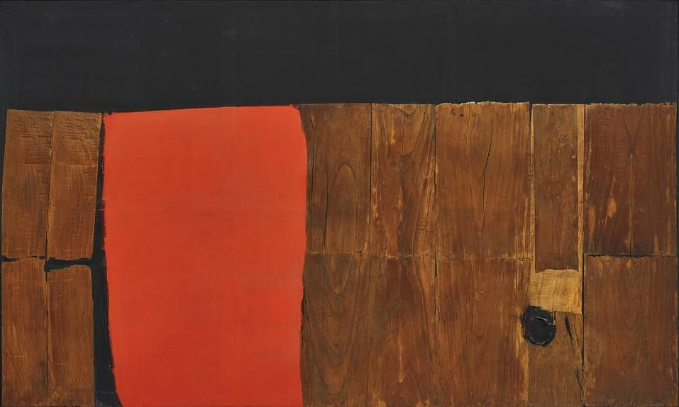 Alberto Burri's 'Big Wood and Red' is expected to fetch at least $10 million at Phillips on Thursday.