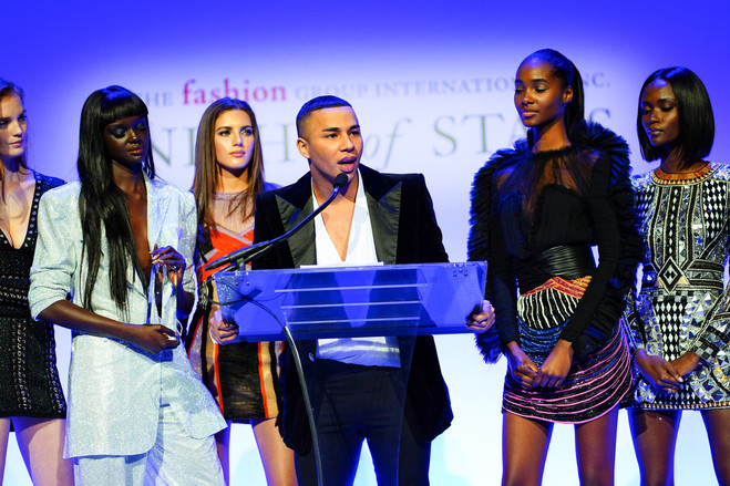 Mr. Rousteing accepted an award from Fashion Group International last month in New York amid members of his 'Balmain Army.'