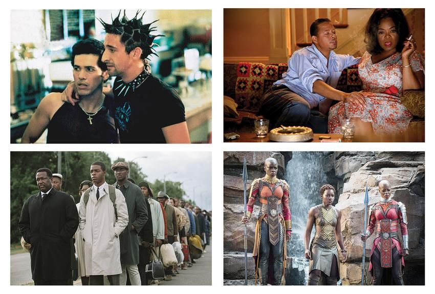 """REEL WORLDS For three decades, Carter has worked on Hollywood feature films, including (from top left): Summer of Sam (1999), Lee Daniels' The Butler (2013), Black Panther (2018) and Selma (2014). """"It's the exhaustive research that sets her apart,"""" says actor Angela Bassett."""