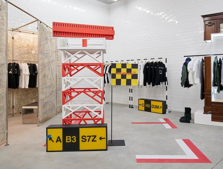 The high-streetwear brand Off-White occupies a corner of the sprawling, single-story warehouse.