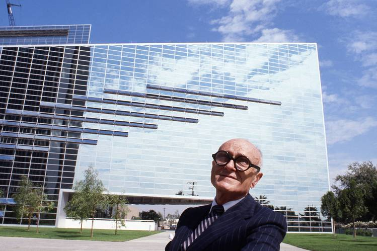 'The Man in the Glass House' explores the life of architect Phillip Johnson, shown in a 1980 photo outside the Crystal Cathedral, which he designed, in Garden Grove, Calif.