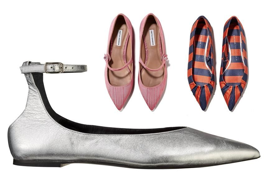 Clockwise from bottom left: THE MINIMALIST MODSTER Metallic Silver Flats, $575, Alumnae, 212-774-7463; THE FEMININE FIND Tabitha Simmons Flats, $695, stylebop.com; THE SNAZZY STANDBY Striped Flats, $40, zara.com