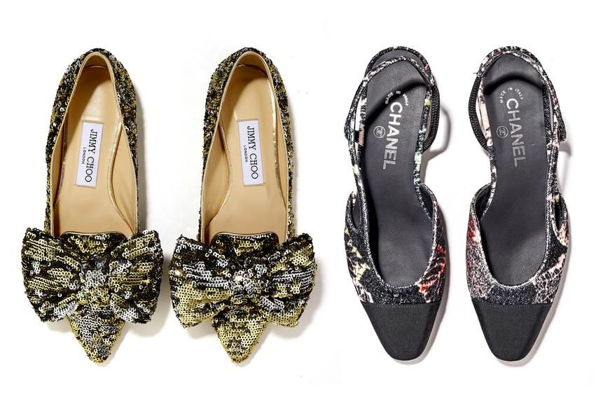 From left: THE PLUSH PRIMADONNA Sequin Flats, $695, jimmychoo.com; THE ELEGANT EMINENCE Slingback Flats, $875, Chanel 415-981-1550
