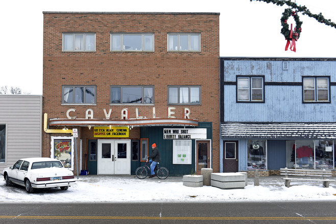 The Cavalier Theater on Main St. in Cavalier, N.D., population 1,302. Many residents were born and raised in this small town.