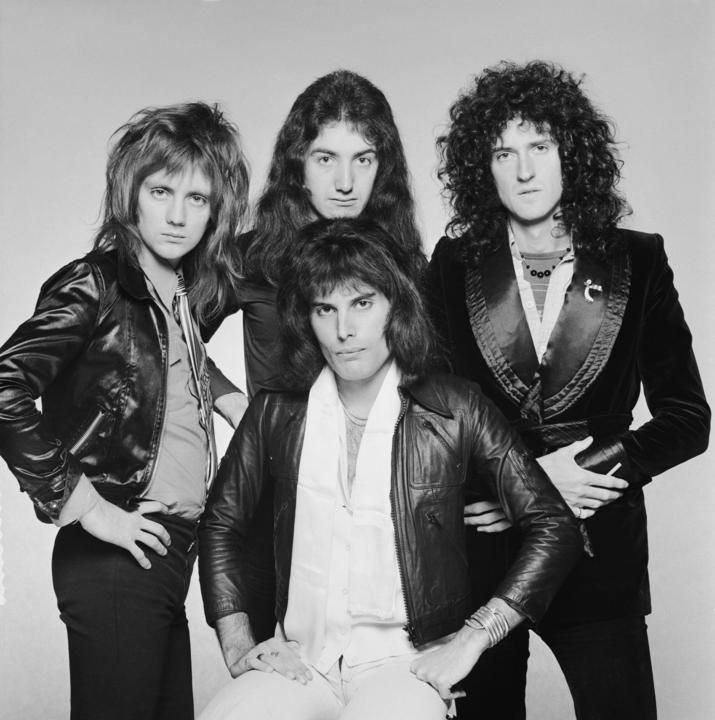 British rock band Queen, circa 1975. Clockwise from front, singer Freddie Mercury, drummer Roger Taylor, bassist John Deacon and guitarist Brian May.