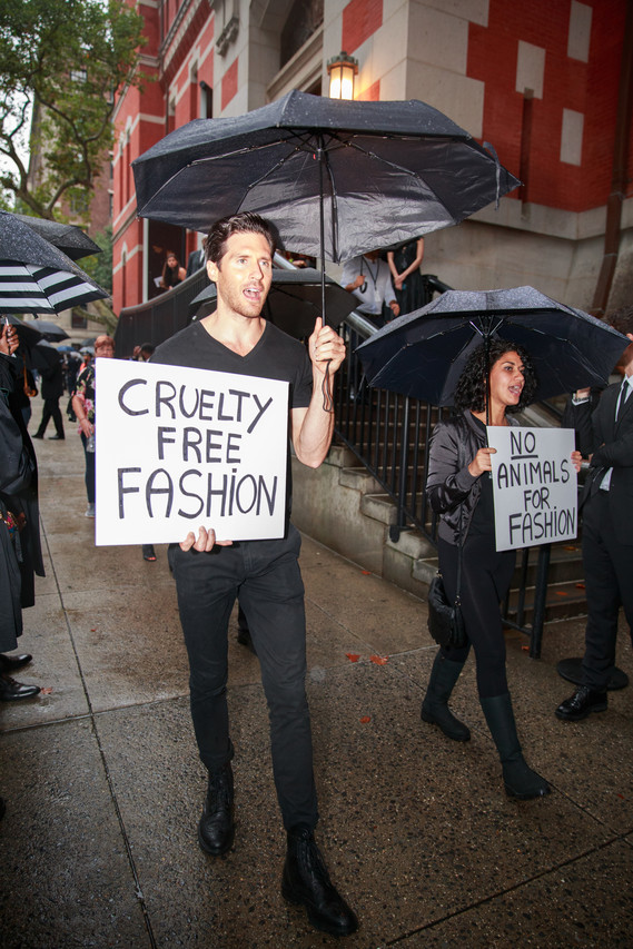 Anti-fur protesters at a Marc Jacobs show.