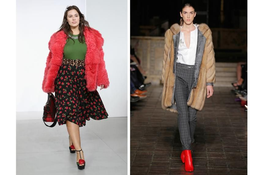Left: Model Ashley Graham in a fake fur coat at a Michael Kors show. Right: A model wears a real fur coat at a Dennis Basso show.