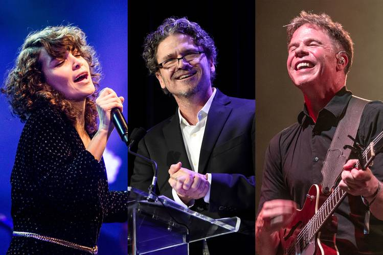 Musician Gaby Moreno, left, author Dave Eggers, center, and musician Josh Ritter will be among the featured guests appearing on Bhi Bhiman's political concept album, 'Peace of Mind,' in podcast format.