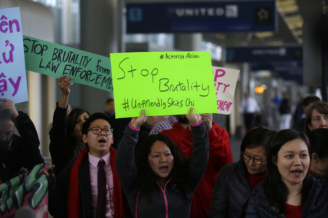 Small protests erupted after a United Airlines passenger was bloodied and dragged off a flight in April 2017. The incident triggered several changes at airlines, including a serious reduction in overbooking by United and other carriers.