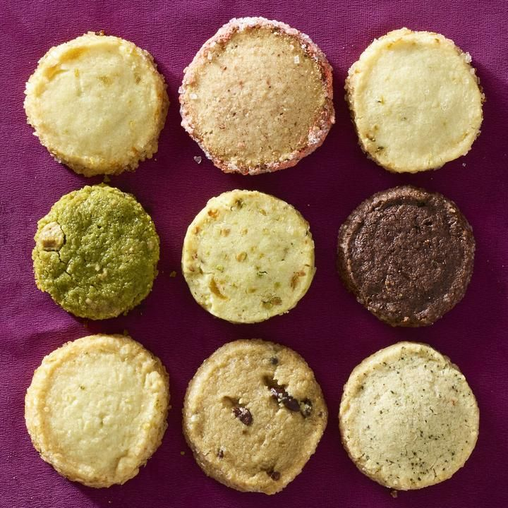 From left to right, top to bottom: Orange Ginger; Strawberry and Black Pepper; Meyer Lemon and Thyme; Row 2: Matcha and White Chocolate; Apricot, Rosewater and Pistachio; Salty Double-Chocolate Chunk; Row 3: Lime in the Coconut; Turkish Coffee with Cacao Nibs; Chai Spice