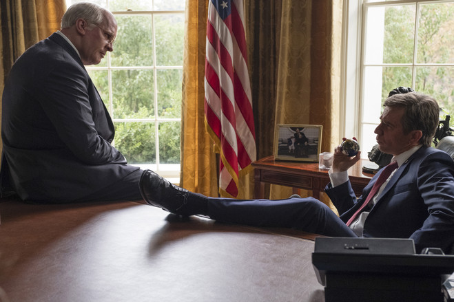 Christian Bale, left, as Dick Cheney, and Sam Rockwell as George W. Bush in 'Vice.'