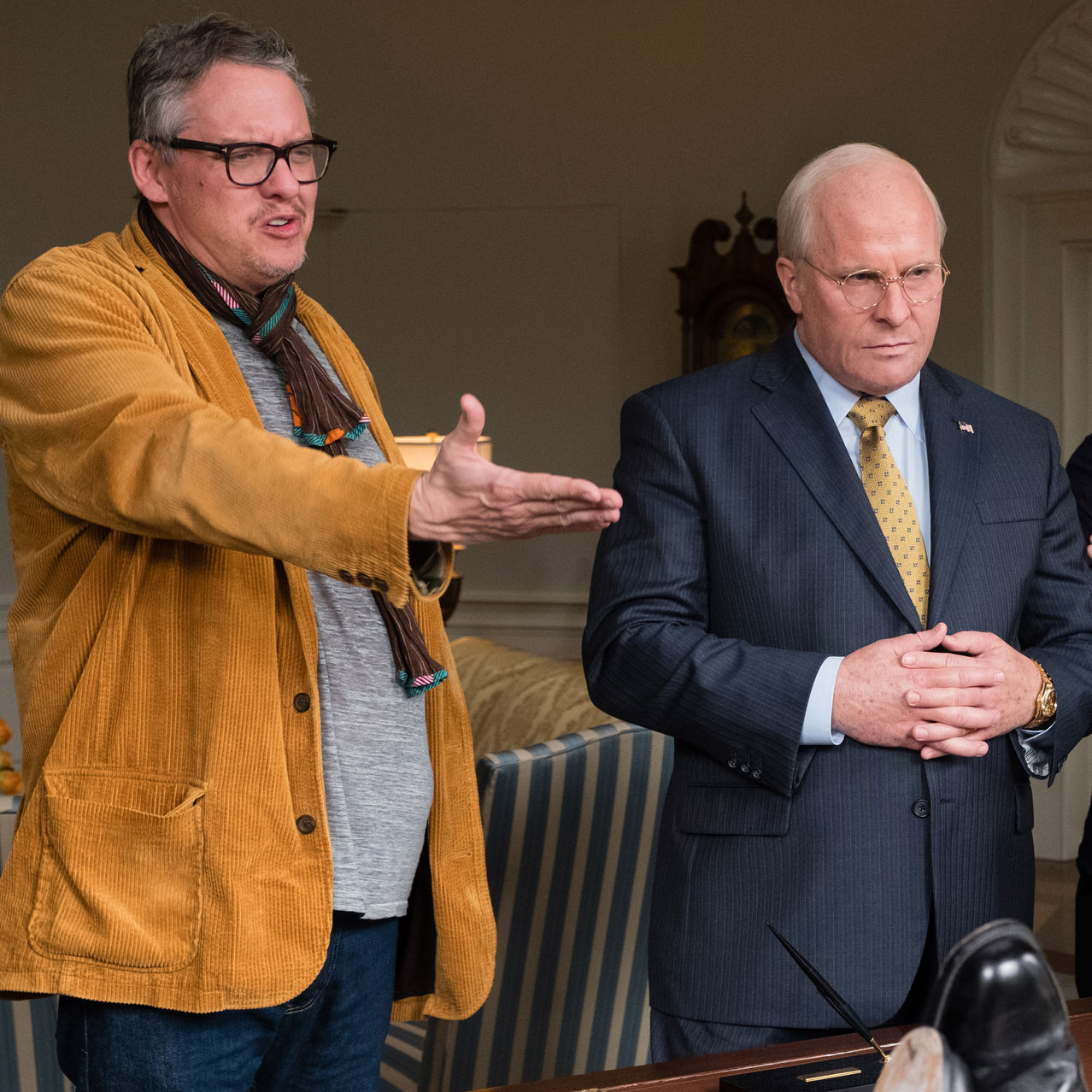 'We tried not to do things with a wink or have Cheney twirling his mustache. He's a guy who believed in what he was doing, and we wanted to show it,' says Adam McKay, left, on the 'Vice' set with actor Christian Bale, who plays Dick Cheney.