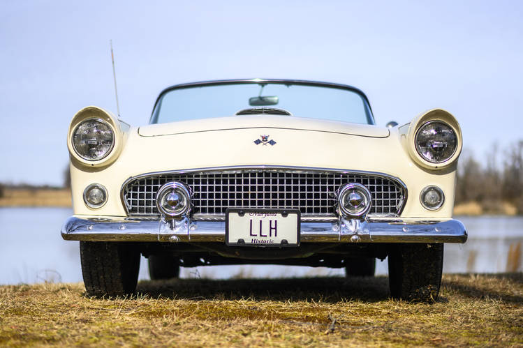 Phil Hoon's 1955 Ford Thunderbird, photographed in his backyard in Chestertown, Md. Ford created the car to compete with Chevrolet's new Corvette..