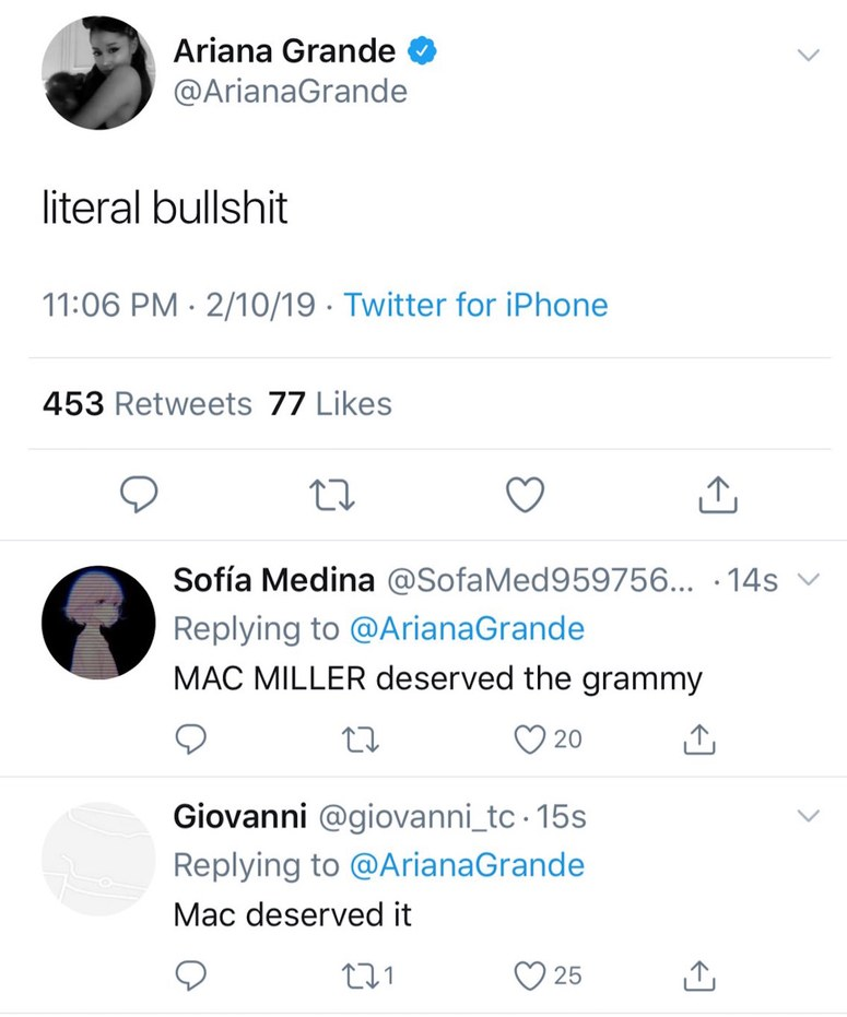 Ariana Grande's sincedeleted tweet about Mac Miller losing the Best Rap Album Grammy.