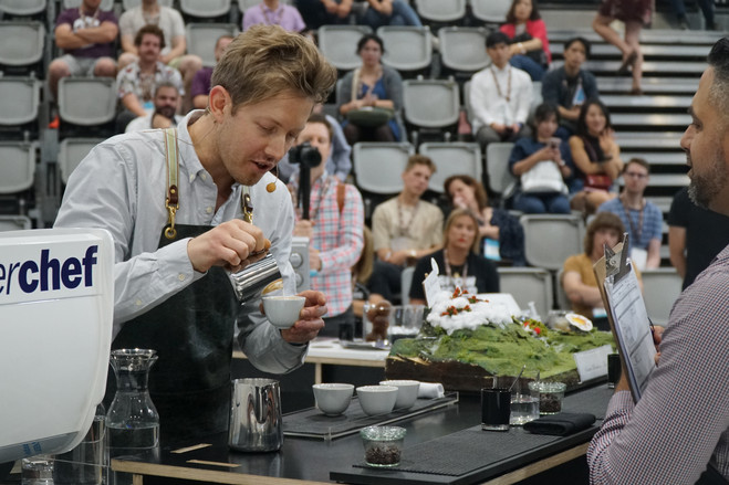 Matthew Lewin, winner of the Australian coffee championships, used a portable freezer to chill his beans..