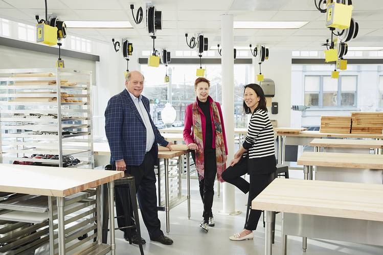 WARM WELCOME Founders George Brower, Ti Adelaide Martin and Carol Markowitz in a classroom at the New Orleans Culinary and Hospitality Institute.
