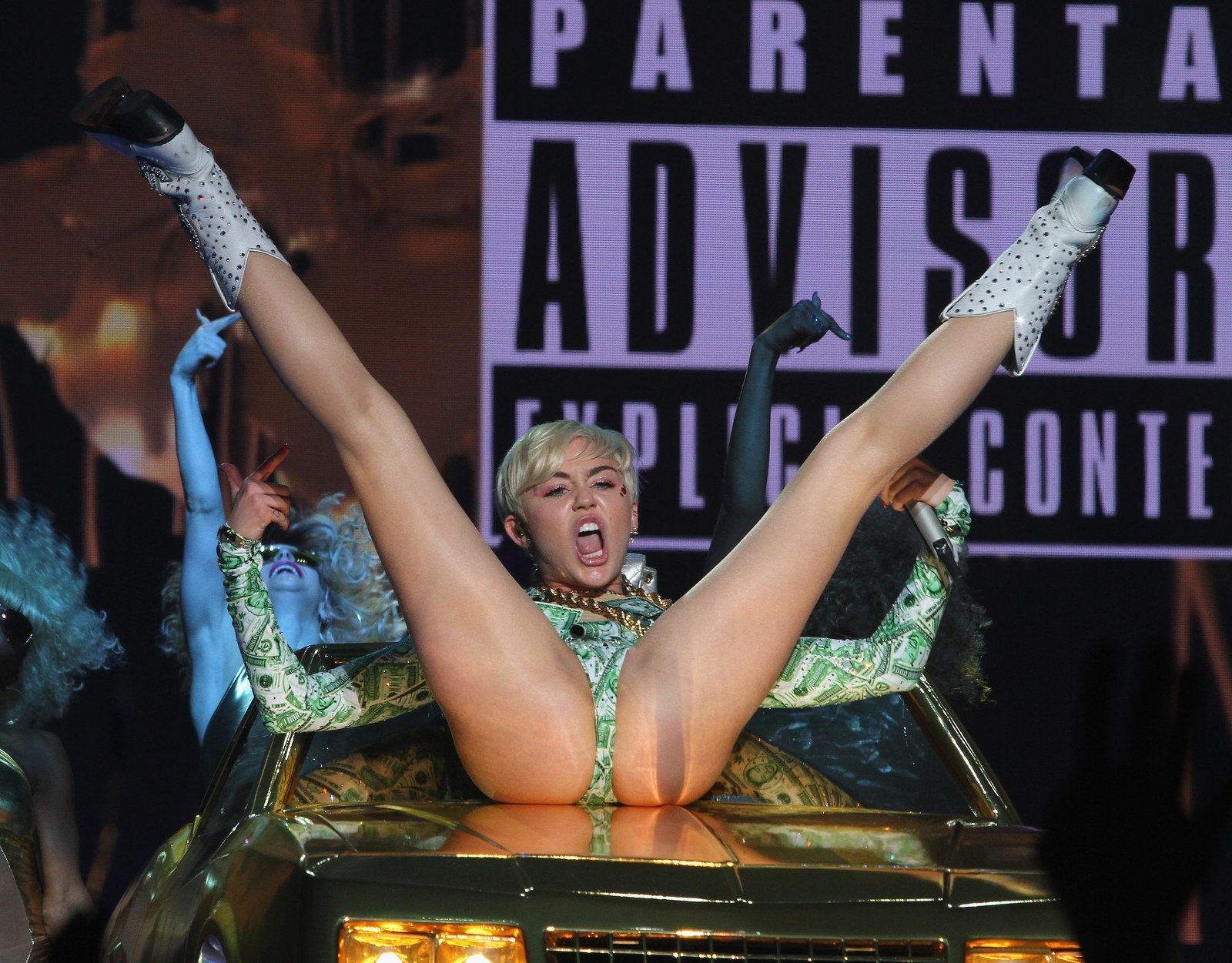 Miley Cyrus performing on her Bangerz Tour in Dublin in May 2014.