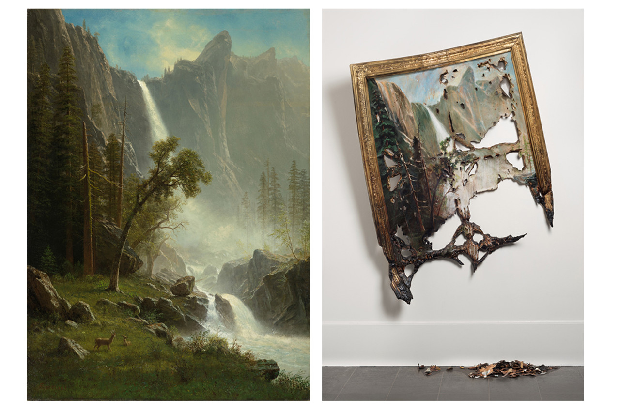 Albert Bierstadt's 'Bridal Veil Falls, Yosemite' (c. 1871-73), left, and Valerie Hegarty's 'Fallen Bierstadt' (2007), right