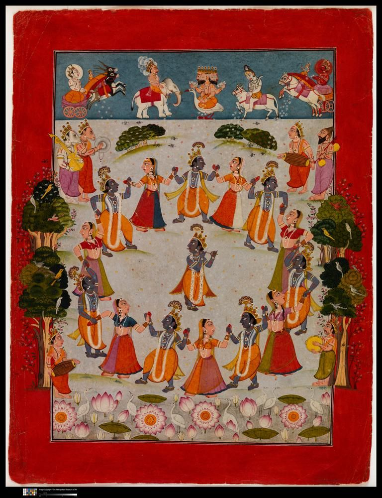 'Krishna Dances in the Raslila with the Gopis (Female Cowherds)' (c. 1750)