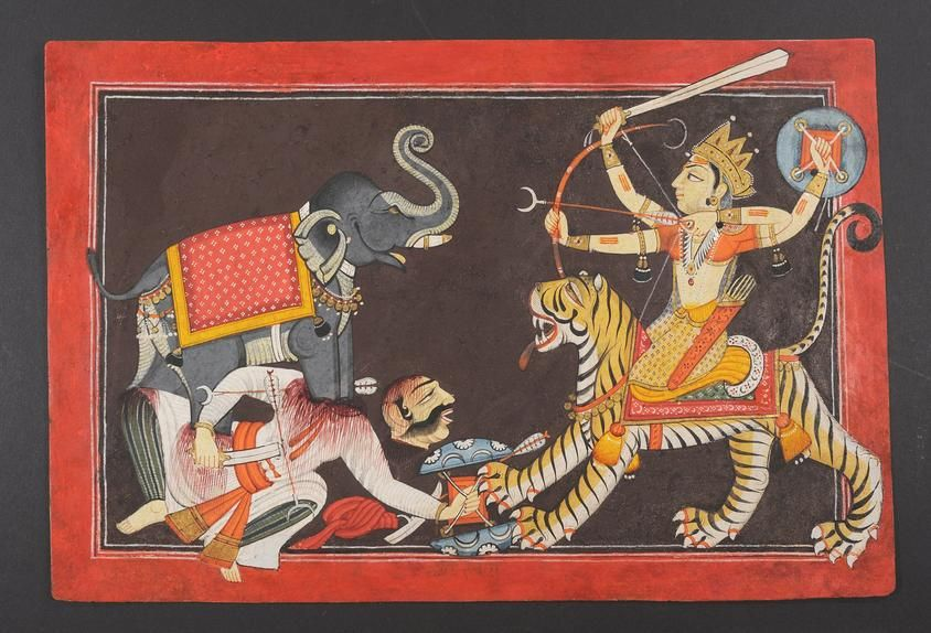 'Durga Confronting the Demon Mahisha in the Form of an Elephant,' by the Master at the Court of Mankot (active c. 1680–1730)