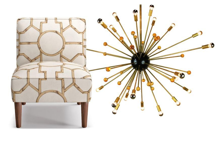 Slipper Chair in Rattan Baldwin Bamboo by The Inside x Scalamandré; A Sputnik chandelier.