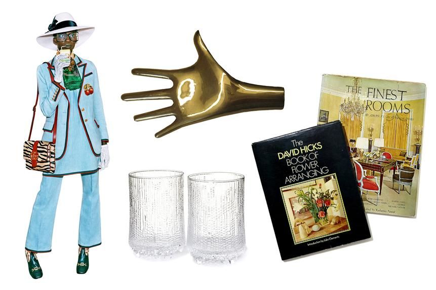 Clockwise from top left: Gucci, pre-fall 2019; Carl Auböck paperweight; vintage design books; Iittala drinking glasses.