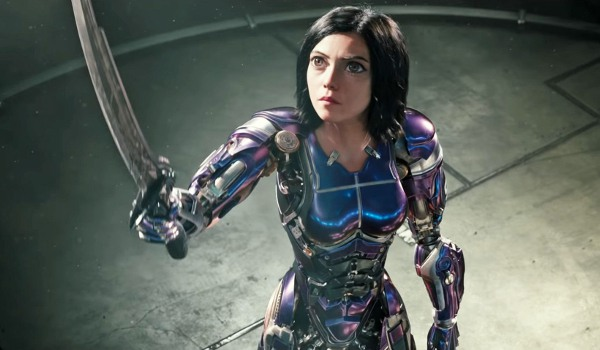 Alita: Battle Angel Alita in the Motorball arena, raising her sword high