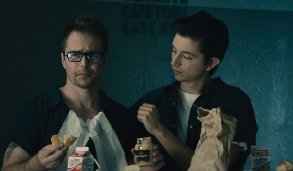 All Hail The King Sam Rockwell having lunch while complaining to a companion