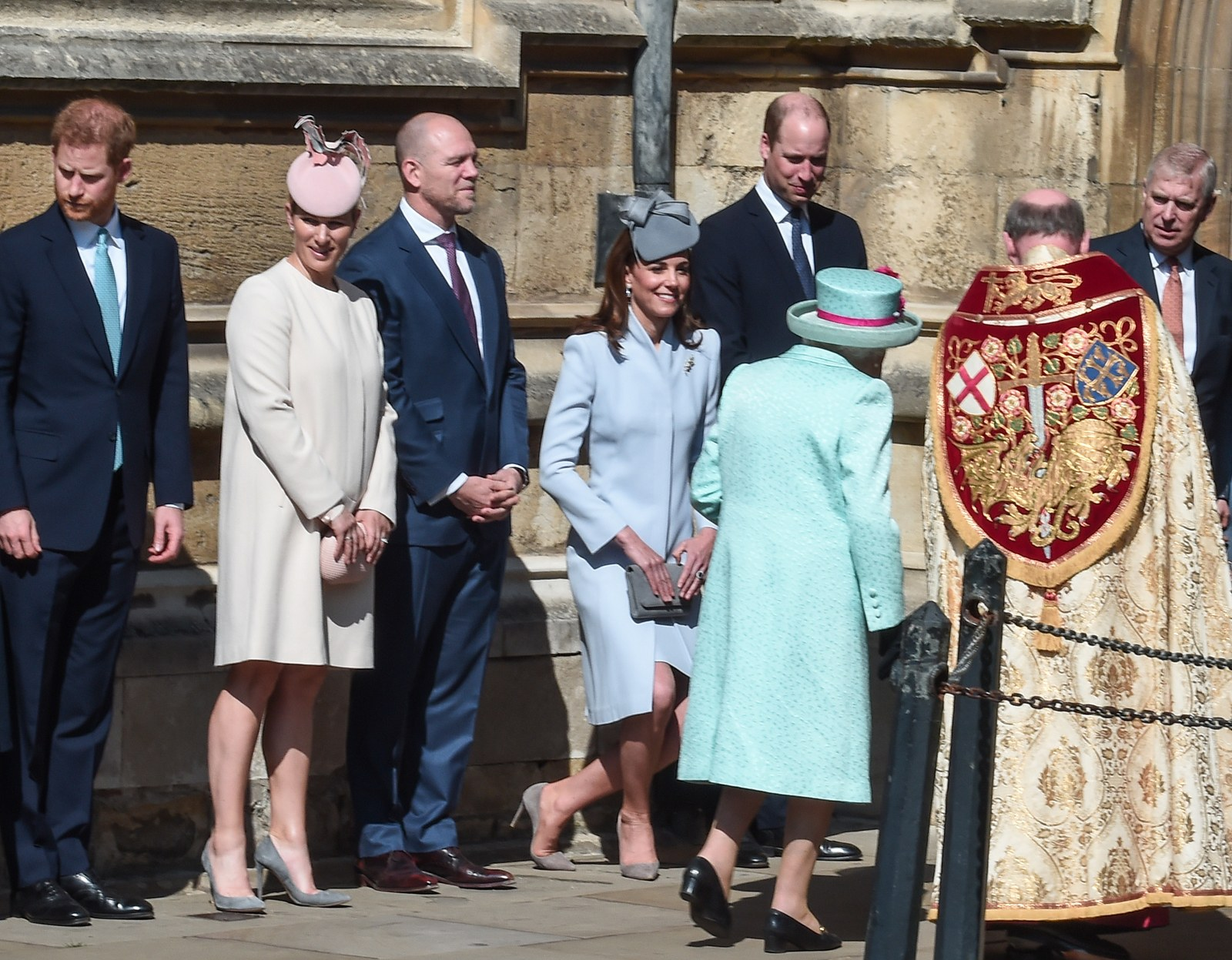 Prince Harry Duke of Sussex Zara Tindall Mike Tindall Catherine Duchess of Cambridge and Prince William Duke of...